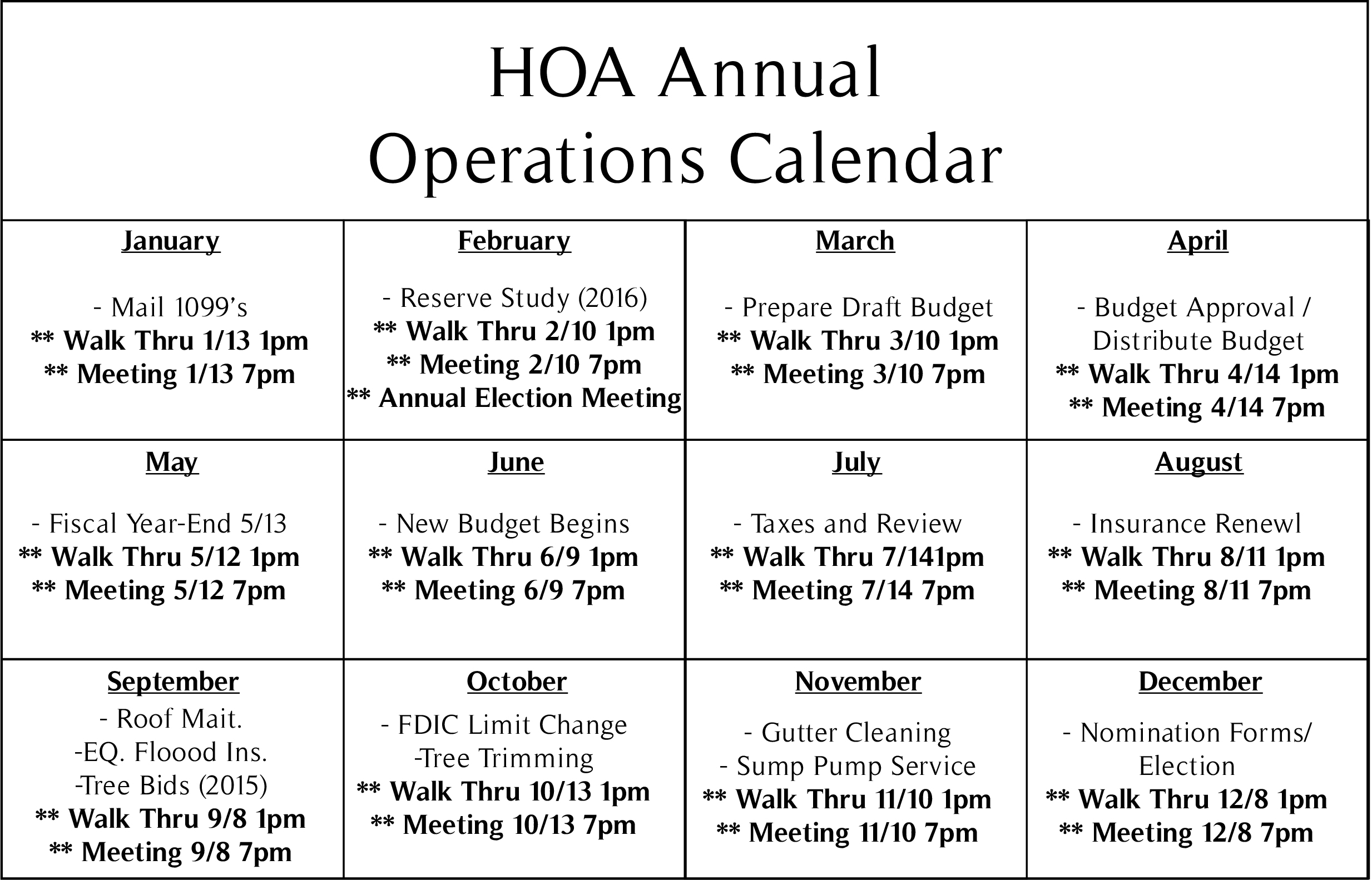 HOA Annual Operations Calendar | CAC mgmt